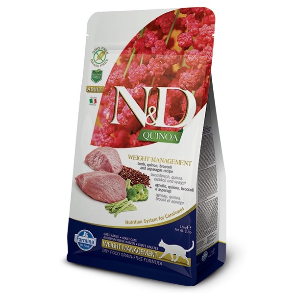 Farmina N&D Quinoa Weight Management con Agnello, quinoa, broccoli e asparagi per gatti - Foto