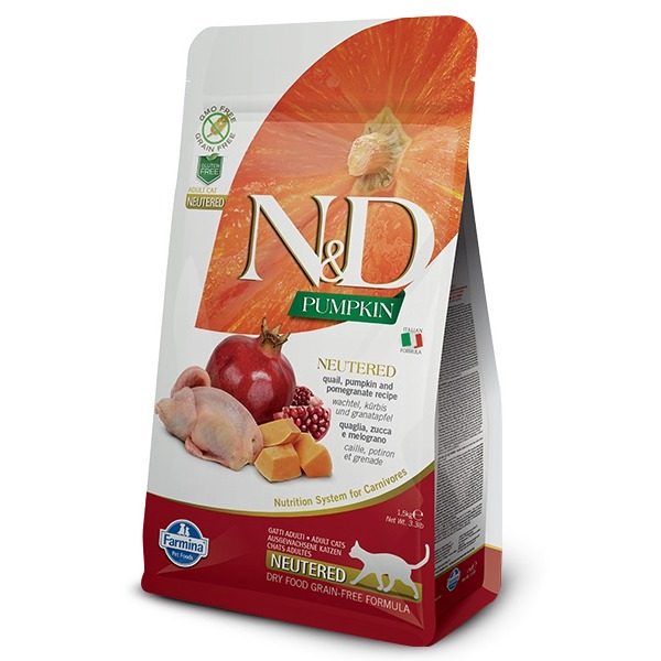 Farmina N&D Grain Free Pumpkin Neutered con Quaglia, zucca e melograno per gatto - Foto